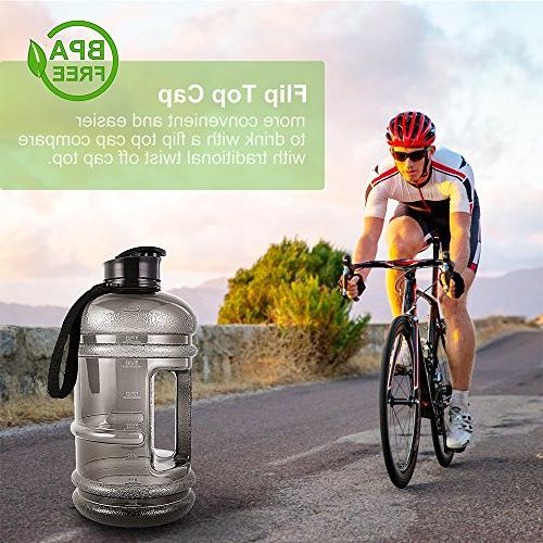 Water Jug 2.2Liter Large Sport Capacity Giant BPA Carrying Women Camping Bicycle Hiking Gym Athletic Outdoor