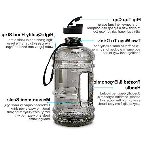 Water Sport Bottle Big Capacity Leakproof Container BPA Free Plastic Carrying Women Training Bicycle Hiking Gym Athletic Outdoor Sports