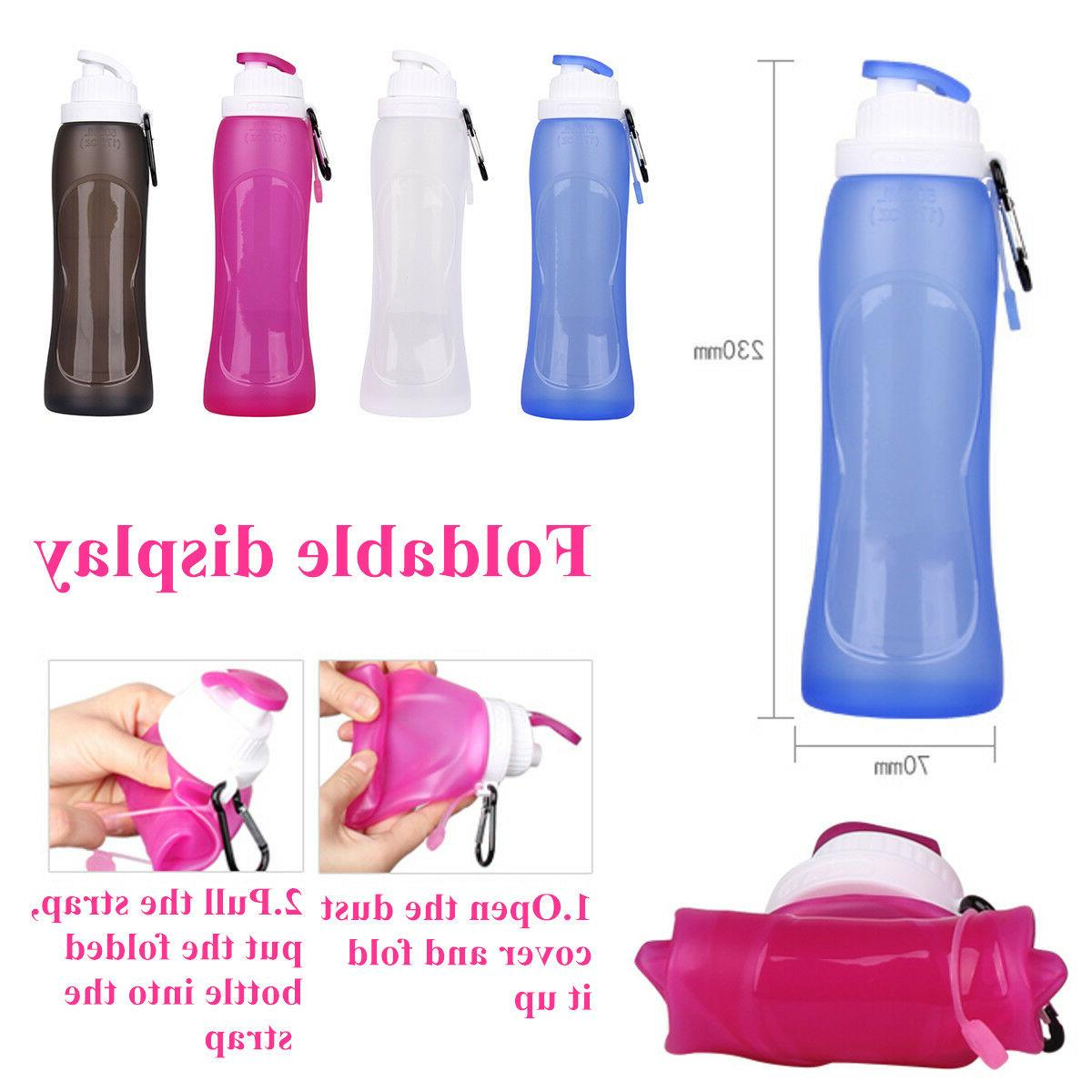 silicone portable foldable water bottle 500ml collapsible