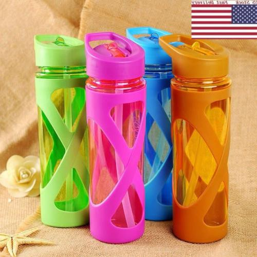 Sport Water Bottle With Plastic Sleeve Eco-friendly Straw Dr