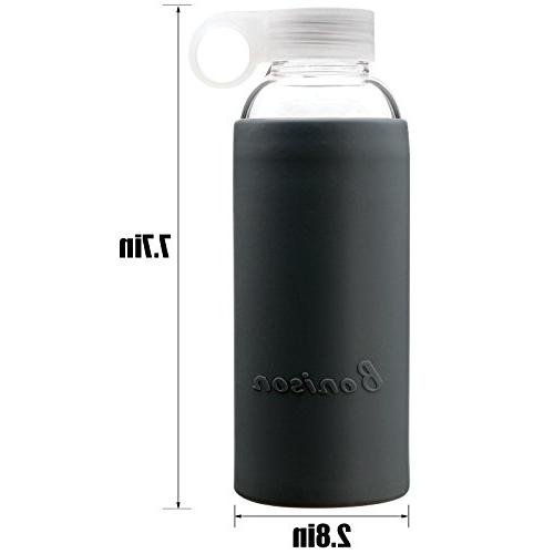Bonison Durable Glass Soft Colorful Silicone Handle Lid Oz Grey