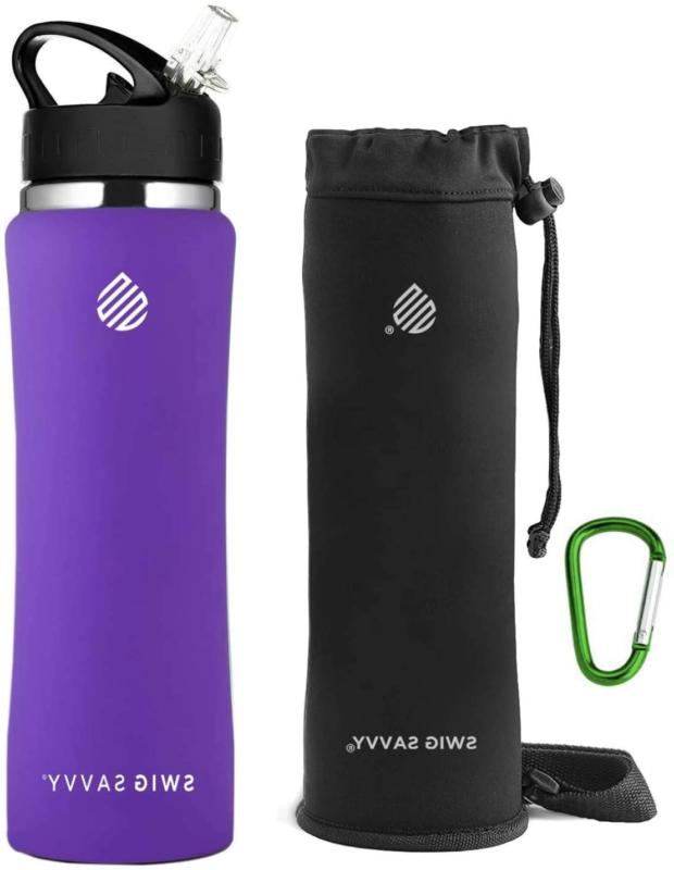 SWIG SAVVY Stainless Steel Water Bottle with Straw Lid | BPA