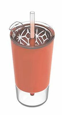 Ello Tidal Glass Tumbler with Straw, Coral, 20 oz