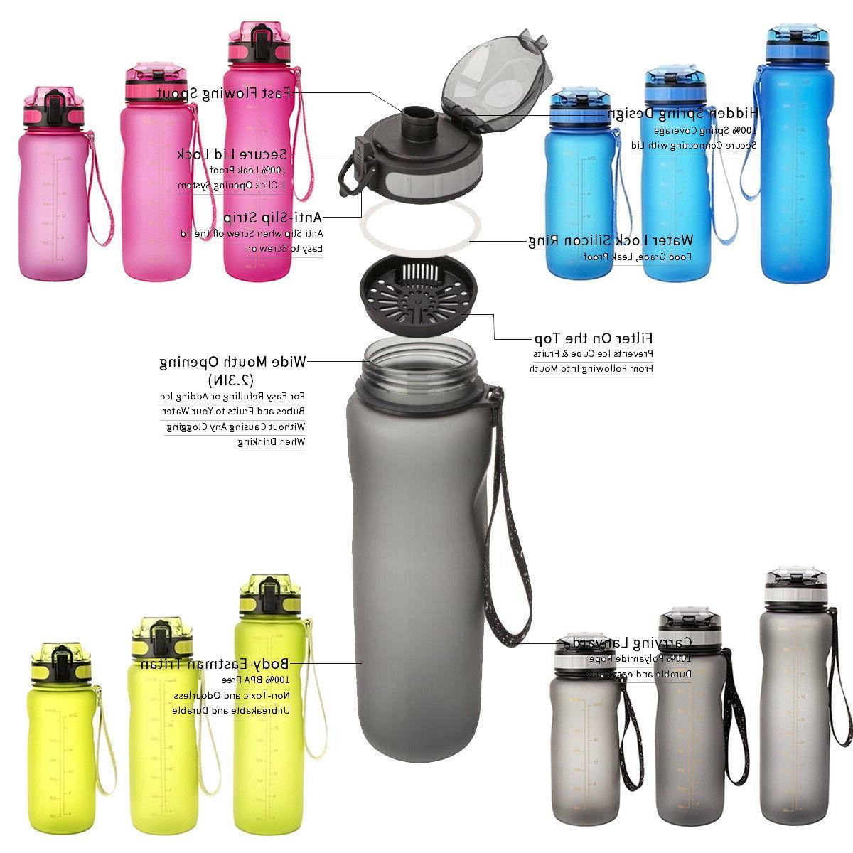 800ml-BPA Free Sports Water Bottle Big Capacity Fitness Trav
