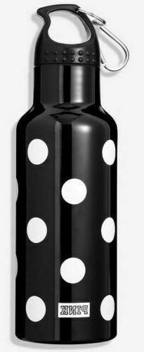 VICTORIAS SECRET PINK WATER BOTTLE BLACK WHITE POLKA DOT CLI