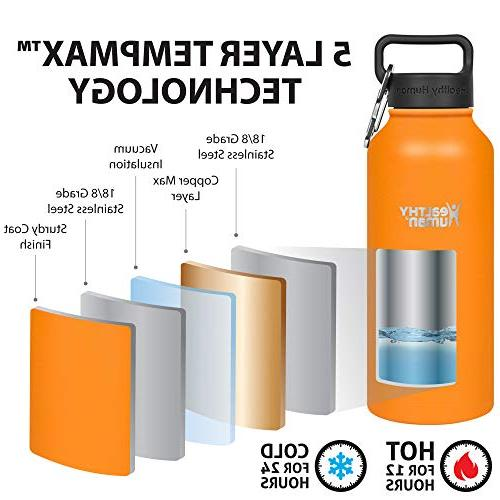 Healthy Human Vacuum Water | Keeps Cold 24 Hours, Hot | Double Bottle Hydro Guide | 40 oz Orange