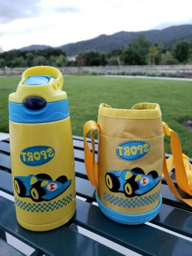 Stainless Steel Water Bottle for Kids with Straw Cars Vacuum
