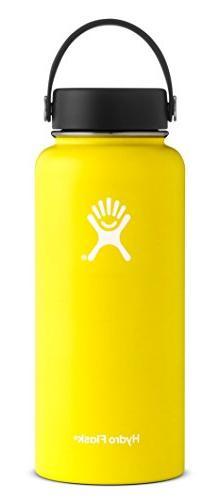32oz Wide Mouth Hydro Flask Lemon w/ Flip Cap *Brand New * F