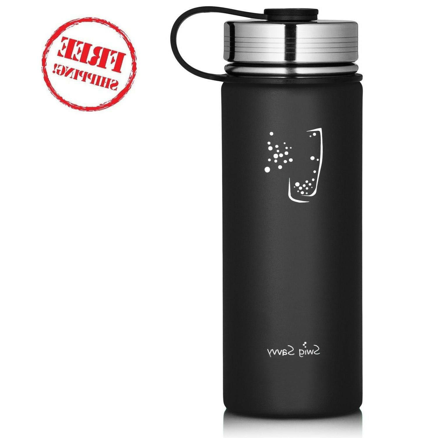 Swig Savvy 40 oz Wide Mouth Stainless Water Bottle Black USA