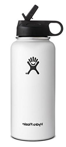 Hydro Flask Wide Mouth Water Bottle, Straw Lid,32 OZ-White