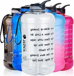 Large 1 Gallon Motivational Water Bottle 128oz Water Jug wit