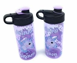 Cool Gear Set of 2 Lavendar Unicorn Emoji Water Bottles 16 o