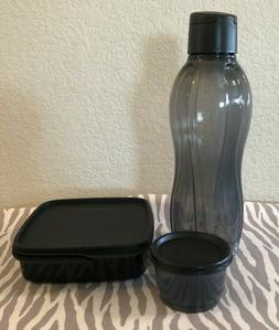 Tupperware Lunch Set of 3 Eco Water Bottle Snack Cups and Sq