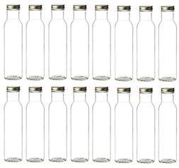 Nakpunar 16 pcs, 8 oz Wide Mouth Glass Bottles with BPA Free