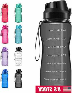 Motivational Water Bottle 2.2L/64oz Half Gallon Jug with Str