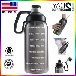 Motivational Water Bottle with Time marker Goal Straw Large