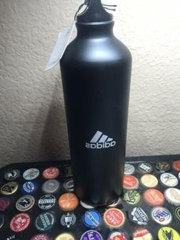 New Adidas Aluminum Water Bottle 24oz Springblade Black H2GO
