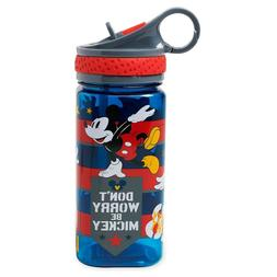 NEW Disney Store Mickey Mouse Water Bottle with Straw 16oz