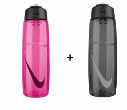 NEW Nike T1 32 Oz. Flow Swoosh Water Bottle Gray Black + Ion