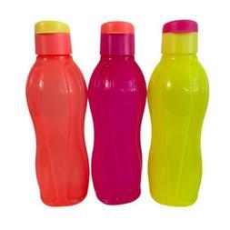 NEW Tupperware Eco Water Bottle Electric Neon 3pc Set Flip C