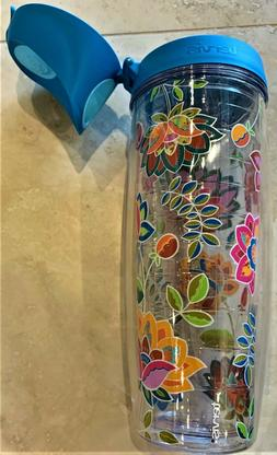 *NEW WITH TAG* Tervis 24oz Water Bottle Flip Lid Floral Patt