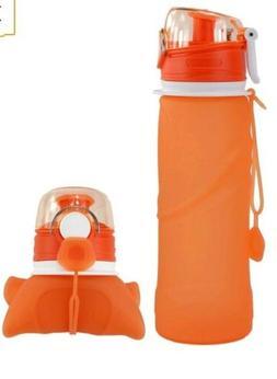 Kemier orange Collapsible Silicone Water Bottles-750ML,Medic