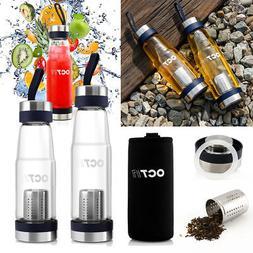 Outdoor Sport Glass Water Bottle, Tea Fruit Filter Infuser P