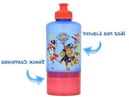 Paw Patrol Water Bottle with Twist Off Snack Cup & Pull-Top