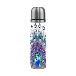ALAZA Peacock Water Bottle Stainless Steel Double Wall Vacuu