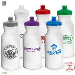 Personalized Sports Water Bottles 20 oz. Printed W/ School N