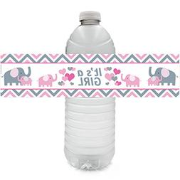 Pink and Gray Elephant Baby Girl Shower Water Bottle Sticker
