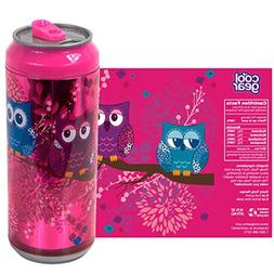 Cool Gear 16 oz. Pink w/ Owls Can Chiller Graphics Design