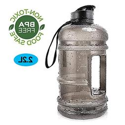 Water Jug 2.2Liter Large Sport Water Bottle Big Capacity Lea