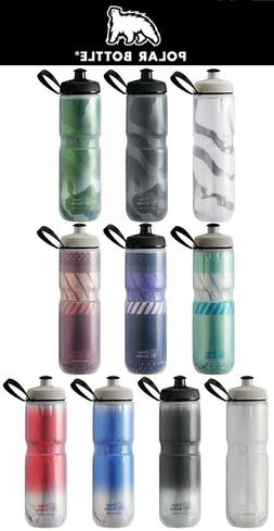 Polar Insulated Water Bottle Bike 24oz White Blue Red USA Fl