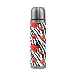 ALAZA Poppy Flowers Stripe Stainless Steel Water Bottle Vacu