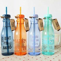 Portable Sport Travel Plastic Fruit Juice Water Bottle Cup w
