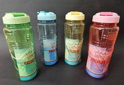 Portable Translucent Clear Plastic Water Bottle Flip-Top Lid