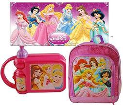 Disney Princess Backpack w/ BONUS 2 Pc. Combo Lunch Box w/ A