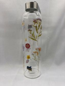 Urban Outfitters Printed Glass Water Bottle - Pressed Floral