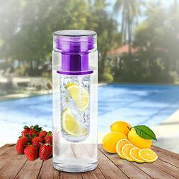 Purple Bpa Free Clear Tea Tumbler Water Bottle fruit Infuser