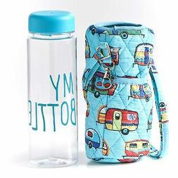 Quilted Water Bottle Carrier with Reuseable Bottle -