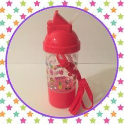 Red Clear BPA Free Water Bottle Flip Screw Top Lid Straw Wit