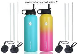 Set of 2 Insulated Stainless Steel Water Bottle Wide Mouth w