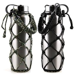 RoryTory 2Pc Set Paracord Water Bottle Holder Carrier Emerge