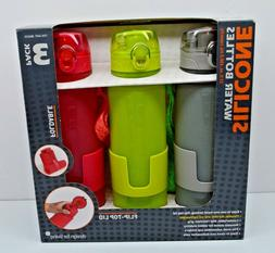 Silicone Water Bottles Fold-able Flip-Top Lid Design For Liv