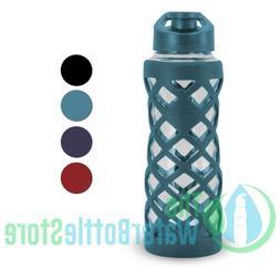 GEO Sports Bottle 24oz Glass Reusable Water Bottle w/ Protec