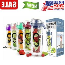 Sports Fruit  Water Bottle with Time Marker, 1 liter / 32 Oz