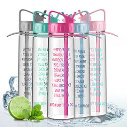 Sports Water Bottle 31oz Fitness BPA Free with Time Markings