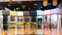 Square Shape Water Bottle Portable Fall Resistant Plastic Tr