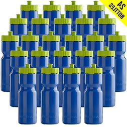 50 Strong Sports Squeeze Water Bottle Bulk Pack - 24 Bottles